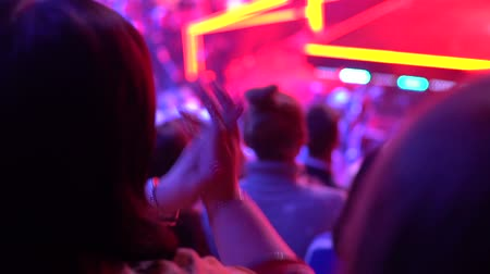 showbiz : People viewers in a TV studio while recording a TV show Stock Footage