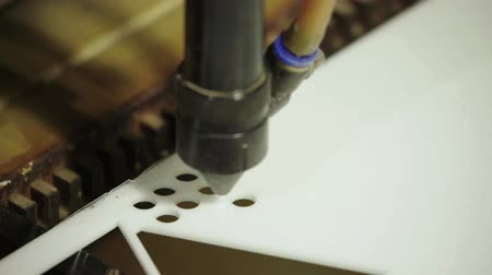 laser engraving : The work of the laser machine. Close-up. Technology. Stock Footage