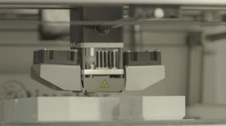 polymer : 3D printer during printing close-up. Stock Footage