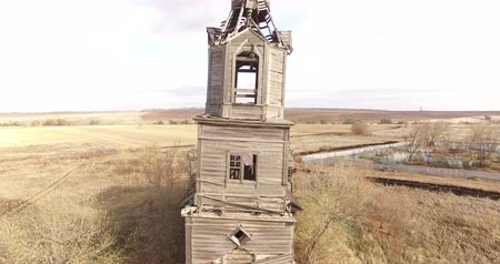 церковь : Abandoned rural church. Aerial View