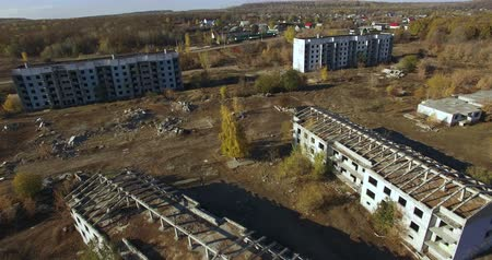 abandoned city : Abandoned Building Aerial view.  HD