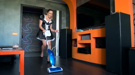домохозяйка : Sexy girl with a vacuum cleaner