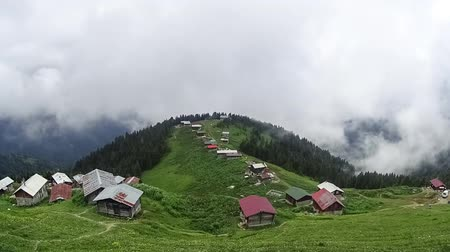 plateau : Rize, Turkey - July 2017: Panoramic timelapse view of Pokut plateau in blacksea Rize karadeniz Stock Footage