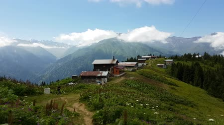 falu : Rize, Turkey - July 2017: Panoramic view of Pokut plateau in blacksea Rize karadeniz