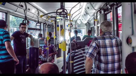 clogged : istanbul, Turkey - June 2017: Timelapse of istanbul public transport bus interior in traffic, Turkey Stock Footage
