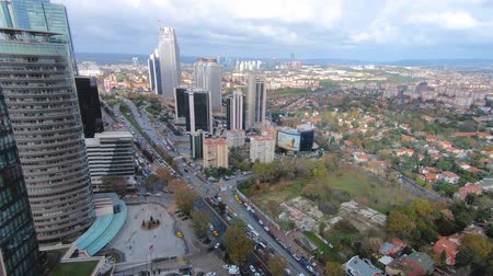 dvojčata : Istanbul, Turkey - December 2018: Levent district in Istanbul as seen from Ferko building, Turkey