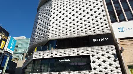 kanto : Tokyo, Chuo-Ku, Ginza - August 2018 : View of Nissan Crossing Building, also hosting Sony headquarters at Ginza Crossroad between Chuo Dori and Harumi Dori streets