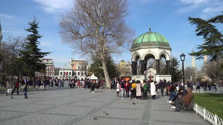 william : istanbul, Turkey - March 2019: German Fountain with tourist crowd at the Sultanahmet Square in Eminonu, istanbul, Turkey