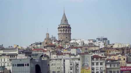 ottoman : istanbul, Turkey - March 2019: Galata Tower and surrounding buildings