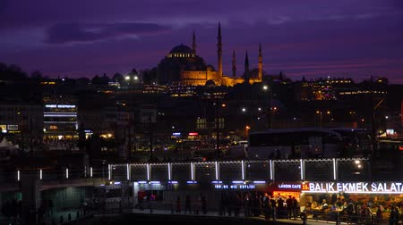 ottoman : istanbul, Turkey - March 2019: Suleymaniye Mosque during sunset in Eminonu district