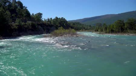 antalya : Koprucay river famous with rafting activities flowing in the outskirts of Antalya province, Turkey Stock Footage