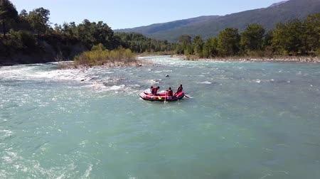 いかだ : Koprulu kanyon, Turkey - March 2019: Water rafting on the rapids of river koprucay in Antalya