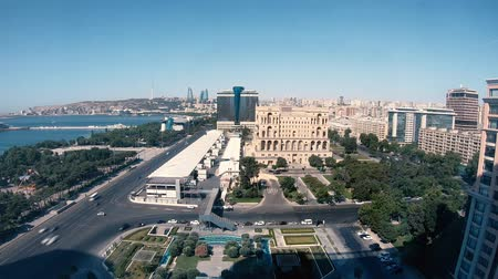 parlamento : Azerbaijan, Baku - July 2019: Baku City timelapse with flame towers and parliament building