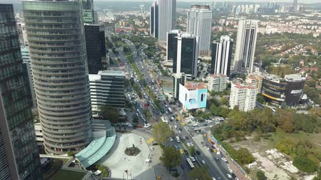 ツイン : Istanbul, Turkey - December 2018: Traffic and buildings of Levent district as seen from Ferko building, istanbul, Turkey 動画素材