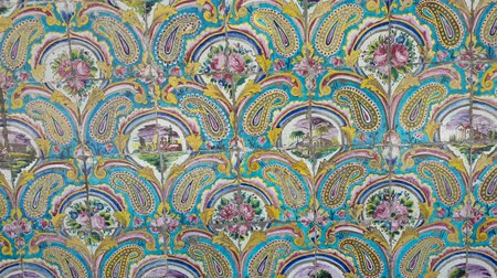 persie : Tehran, Iran - May 2019: Colorful mosaic painting and tiles of Golestan palace, a UNESCO world heritage site