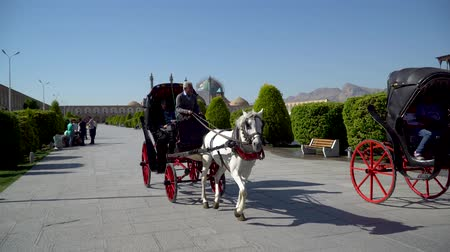 isfahan : Isfahan, Iran - May 2019: Tourists having a horse carriage ride around Isfahan Naqsh-e Jahan Square also called Imam Square Stock Footage