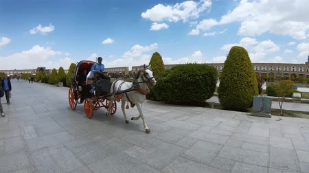 persie : Isfahan, Iran - May 2019: Tourists having a horse carriage ride around Isfahan Naqsh-e Jahan Square also called Imam Square Dostupné videozáznamy
