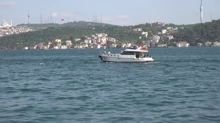 motorbot : Istanbul, Turkey - October 2018: Private yacht sailing along bosphorus strait Stok Video
