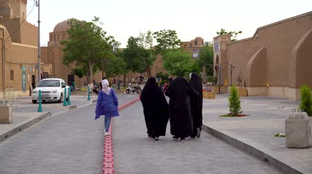 yazd : Yazd, Iran - May 2019: Iranian women walking in the city streets in the old town of Yazd, Iran