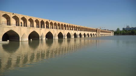 grão : Isfahan, Iran - May 2019: SioSe Pol or Bridge of 33 arches, one of the oldest bridges of Esfahan and longest bridge on Zayandeh River