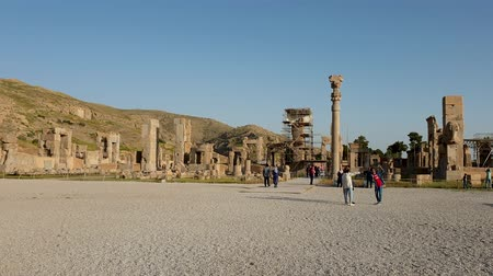 Persapolis, Iran - May 2019: Ruins of historical city of Persapolis in Shiraz Стоковые видеозаписи