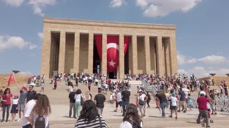 Ankara, Turkey - August 2019: Anitkabir Mausoleum of Ataturk with people visiting the Great Leader Ataturk in his grave to convey his love and respect. Stock Footage