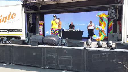 Johannesburg, South Africa - October 2019: Singer and DJ performing at South African Johannesburg Gay Pride March