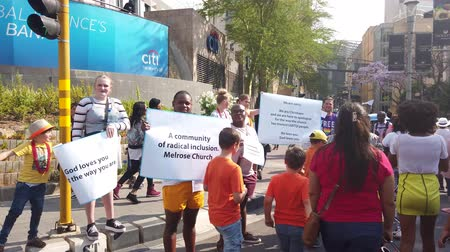 Johannesburg, South Africa - October 2019: Religious people from church at Gay pride March