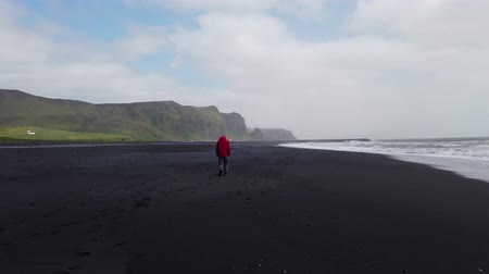 Vik, Iceland - August 2019: Man walking in black sand beach of Reynisfjara with waves hitting the shore in the southern coast of Vik, Iceland.