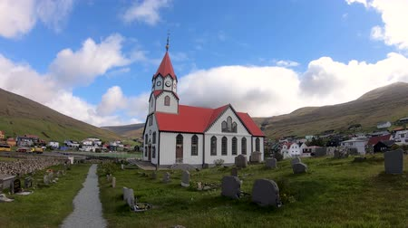 Sandavagur, Faroe Islands - August 2019: The church in sandavagur on Vagar, Faroe Islands Стоковые видеозаписи