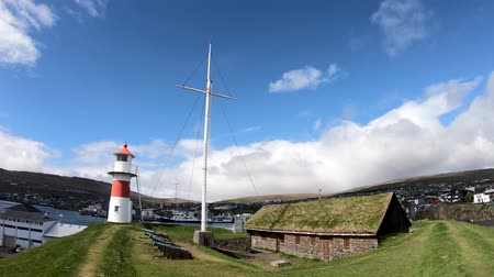 Thorshavn, Faroe Islands - August 2019: Lighthouse of Torshavn inside fort of Torshavn