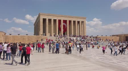 Ankara, Turkey - August 2019: People visiting Anitkabir Mausoleum of Turkish leader Ataturk in his grave to convey love and respect. Stock Footage