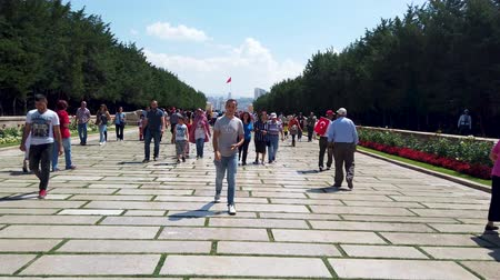 Ankara, Turkey - August 2019: Turkish people in Anitkabir mausoleum of Mustafa Kemal Ataturk walking along Road of Lions