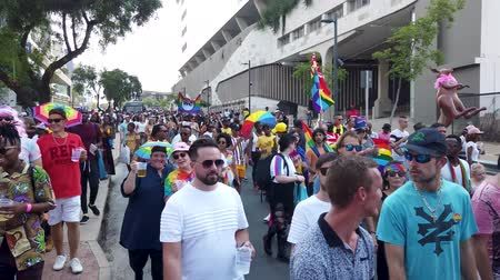 Johannesburg, South Africa - October 2019: Crowded people marching and having fun at Gay pride March Filmati Stock