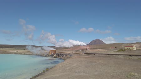 fumarole : Geothermal facilities in Hverir Myvatn geothermal area with boiling mudpools and steaming fumaroles in Iceland