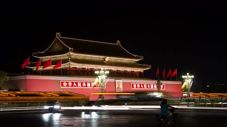 elnök :  Beijing, China – June 28, 2014: Timelapse of Tiananmen at night.