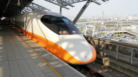 headstock : Taichung Taiwan ROC February 2 2015: Taiwan High Speed Rail Train at the Taichung High Speed Train Station in the Daytime.