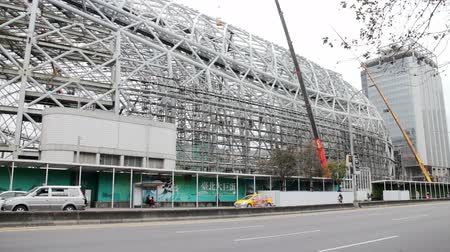 polinésia : Taipei Taiwan ROC February 09 2015: Taipei Dome Construction Scene in the Daytime. It will be the Largest Performing Arts Center in Taipei City When it Finished.