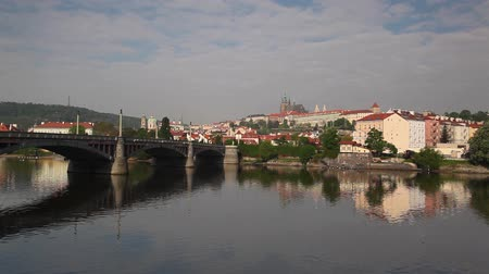 Прага : View at the Prague Castle in Hradcany district over Vltava river  Стоковые видеозаписи