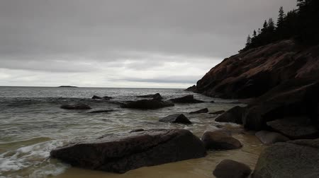 costa : View of the rocky cliff shore line at Acadia National Park. Maine, New England, USA