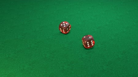 Slow motion of rolling red dice on green background, number 4-1