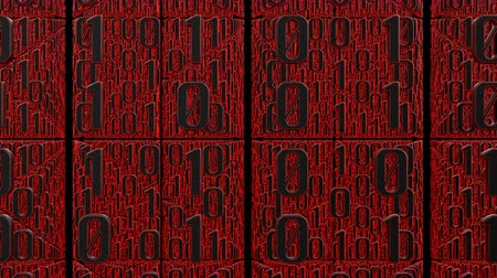 3D animation of many digits of red binary code moves right to left in front of the camera. This video symbolizes the transmission of digital data.