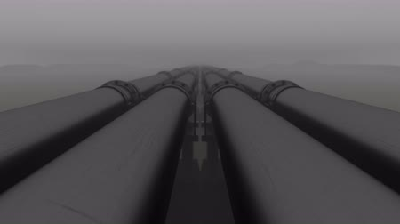 boru hattı : Pipeline transport oil, natural gas or water in a metal pipe. Oil concept. Repeating cycle animation of camera movement over the pipeline in the fog
