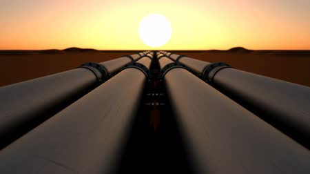 Pipeline transport oil, natural gas or water in a metal pipe. Oil concept. Looped animation of camera movement over the oil pipeline right at sunset