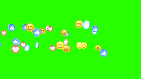 megjegyzés : Social media icons animated in front of the camera from left to right on a green screen