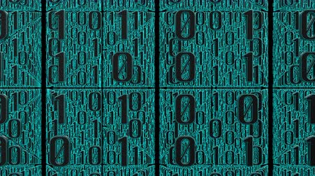 3D animation of many digits of cyan binary code moves right to left in front of the camera. This video symbolizes the transmission of digital data. Stock mozgókép