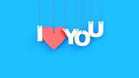 vinheta : Beautiful 3D animation of heart with text I love you. Hanging on the ropes cardboard text falls from top to bottom on an blue background