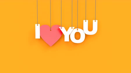 cherish : Beautiful 3D animation of heart with text I love you. Hanging on the ropes cardboard text falls from top to bottom on an orange background