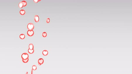 blank can : Social love heart icon looped animations can be used to make a Declaration of love on Valentines Day. The animation from bottom to top on a grey background. Included alpha mask Stock Footage