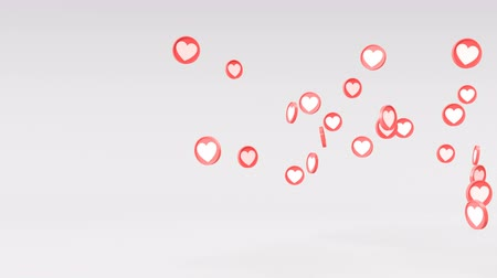 blank can : Social love hearts icon animation can be used to make a Declaration of love on Valentines Day. Animation from left to right on grey background. Alpha masks